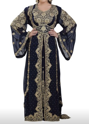 black georgette moroccan islamic dubai kaftan farasha aari and stone work dress