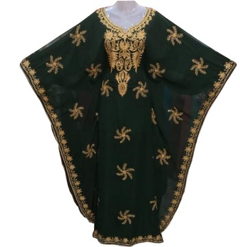 green georgette moroccan dubai kaftan farasha aari and stone work dress