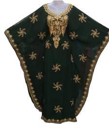 green georgette moroccan dubai kaftan farasha aari and stone work dress