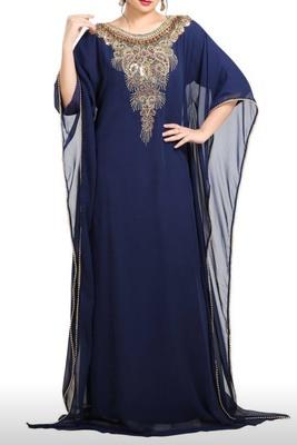 navy blue georgette moroccan islamic dubai kaftan farasha zari and stone work dress