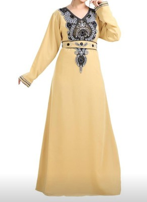 yellow georgette moroccan islamic dubai kaftan farasha zari and stone work dress