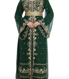 green georgette moroccan islamic dubai kaftan farasha aari and stone work dress