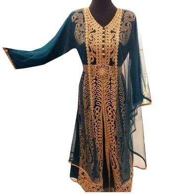 grey georgette moroccan islamic dubai kaftan farasha aari and stone work dress