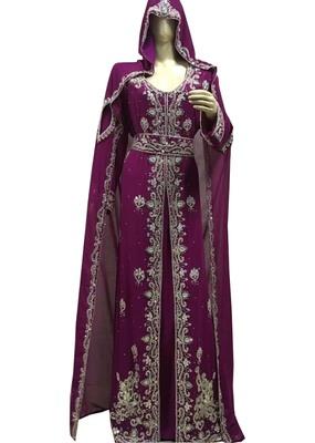 wine georgette moroccan islamic dubai kaftan farasha zari and stone work dress