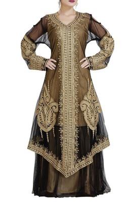 black georgette moroccan dubai kaftan farasha aari and stone work dress