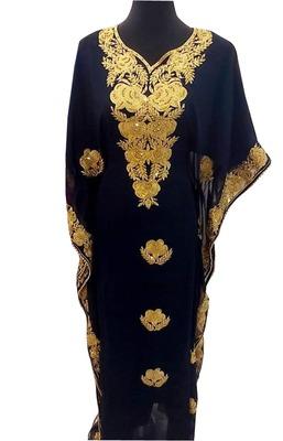 navy blue georgette moroccan islamic dubai kaftan farasha aari and stone work dress