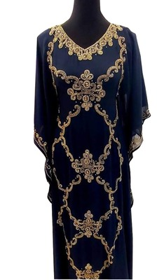 navy blue georgette moroccan islamic dubai kaftan farasha zari and stone work dress