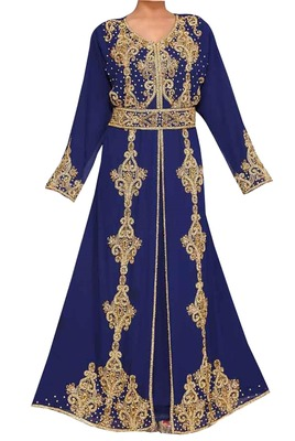 navy blue embroidered georgette islamic kaftan