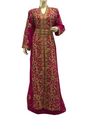 rani georgette moroccan islamic dubai kaftan farasha aari and stone work dress