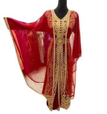 red georgette moroccan dubai kaftan farasha aari and stone work dress