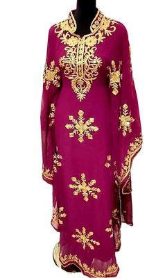 wine georgette moroccan dubai kaftan farasha aari and stone work dress