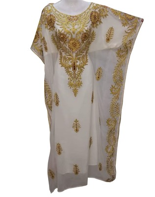 white georgette moroccan islamic dubai kaftan farasha aari and stone work dress