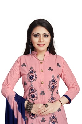 Pink embroidered cotton silk salwar