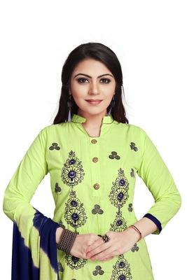 Light-parrot-green embroidered cotton silk salwar