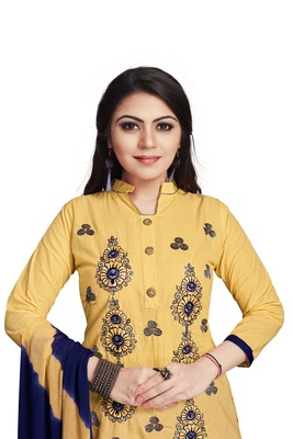 Cream embroidered cotton silk salwar