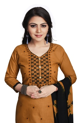 Brown embroidered cotton silk salwar