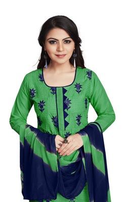 Sky-blue embroidered cotton silk salwar