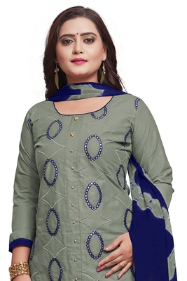 Grey embroidered cotton silk salwar