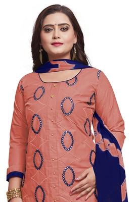 Light-pink embroidered cotton silk salwar