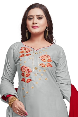 Grey embroidered cotton silk salwar
