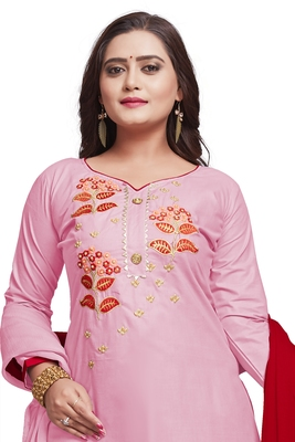 Light-pink embroidered cotton silk salwar