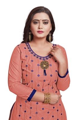 Peach embroidered cotton silk salwar