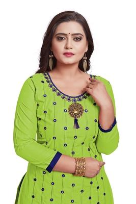 Parrot-green embroidered cotton silk salwar