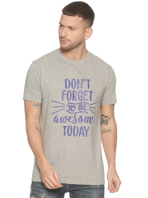 Grey Printed Cotton Knitted Stretch Men Tshirts