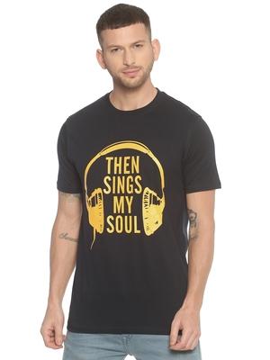black printed cotton knitted stretch men-tshirts
