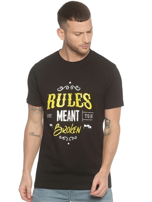Black Printed Cotton Knitted Stretch Men Tshirts