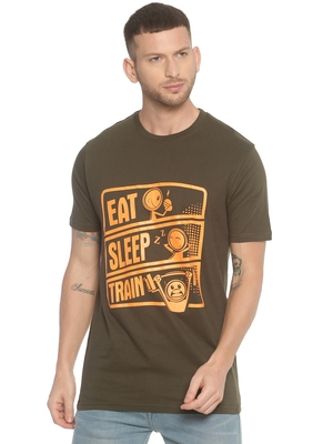 Green printed cotton knitted stretch men-tshirts