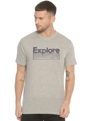 Grey printed cotton knitted stretch men-tshirts