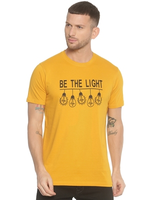 Yellow Printed Cotton Knitted Stretch Men Tshirts