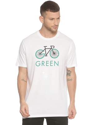 White printed cotton knitted stretch men-tshirts
