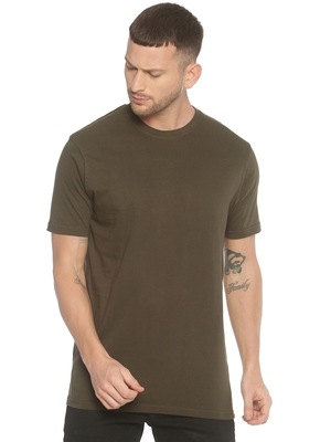Green Plain Cotton Knitted Stretch Men Tshirts