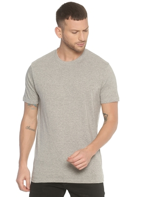 Grey plain cotton knitted stretch men-tshirts
