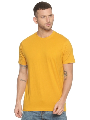 Yellow plain cotton knitted stretch men-tshirts