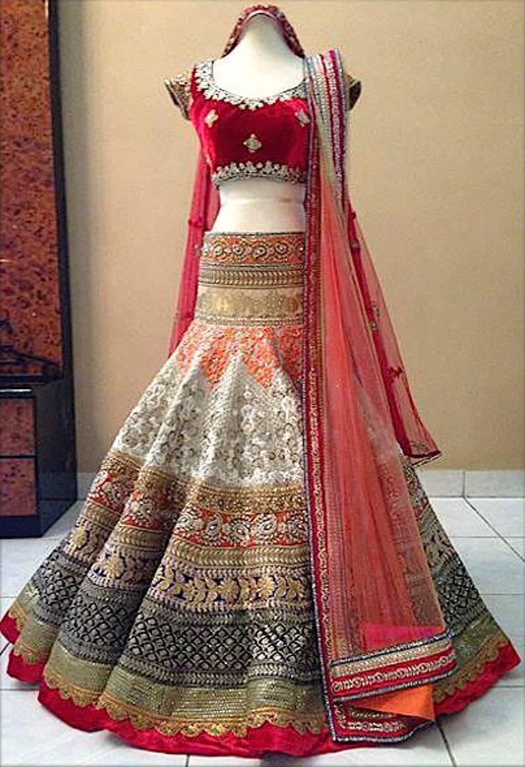 Buy Off White Embroidred Brocade Wedding Lehenga With