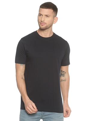 Blue plain cotton knitted stretch men-tshirts