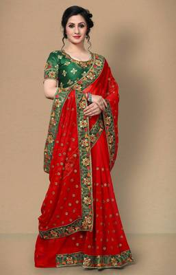 Red Women's Faux Georgette Designer Embroidery Saree With Blouse