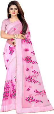 Light Pink Women's Net Designer Embroidery Saree With Blouse