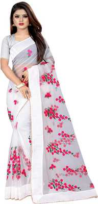 White Women's Net Designer Embroidery Saree With Blouse