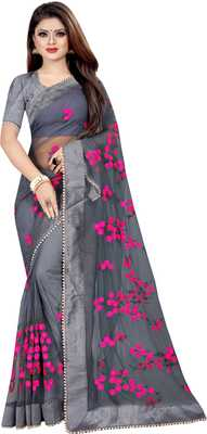 Grey Women's Net Designer Embroidery Saree With Blouse