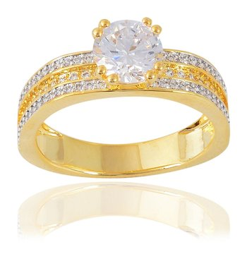 Fashion Jewellery Stylish Fancy Daily Wear Designer Solitaire Gold Plated Metal Ring For Women Girls