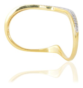 Stylish Fancy Partywear Clubwear Designer Two Finger Gold Plated Cocktail Ring for Women Girls