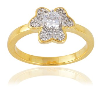 Heart Designer Two Tone Plated Stylish Solitaire Ring for Women Girls