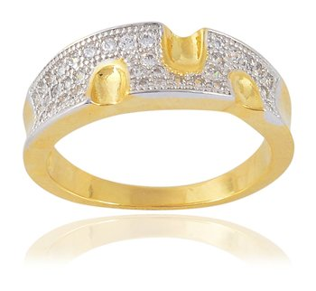 Fashionable Designer Stylish American Diamonds Gold Plated Ring for Women Girls