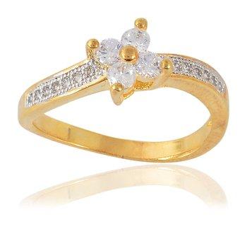 Stylish American Diamonds Designer Gold Plated Ring for Women Girls