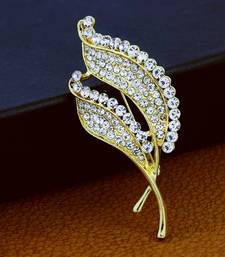 Gold cubic zirconia brooch