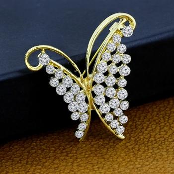 Gold cubic zirconia brooch